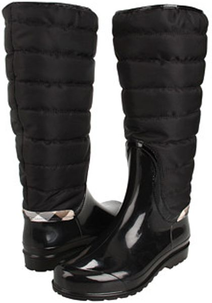 Burberry Quilted Patent Trim Rain Boot In Black Lyst
