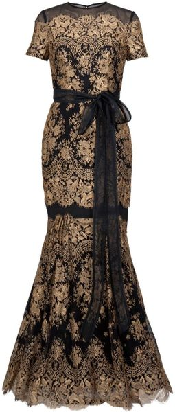 Carolina Herrera Gold Lace Gown - Lyst