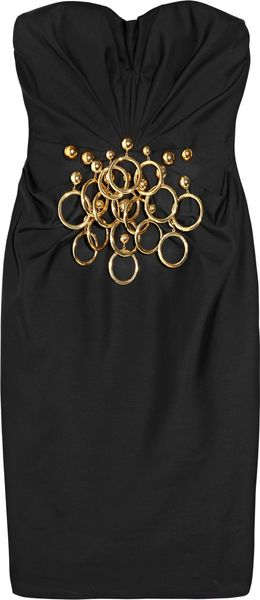 Moschino Ring-embellished Wool-blend Dress - Lyst
