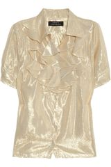 Robert Rodriguez Ruffled Metallic Silk-blend Blouse - Lyst
