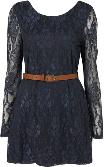 Topshop Lace Belted Skater Dress By Rare** - Lyst