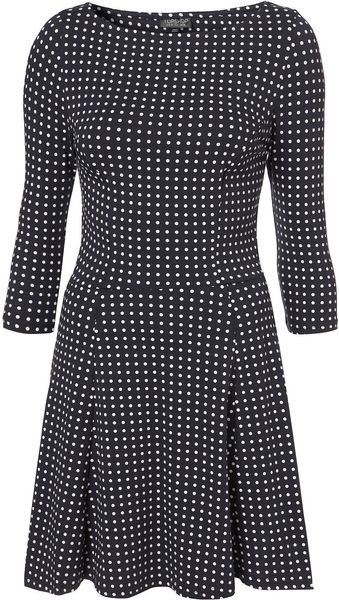 Topshop Navy Spot Fit and Flare Dress in Black (navy blue) - Lyst