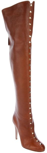 Valentino Long Studded Boot - Lyst