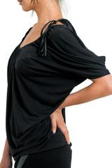 Doo. Ri Shoulder Drape Top in Black - Lyst