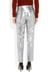 Etro Metallic Silkblend Cropped Pants in Silver - Lyst