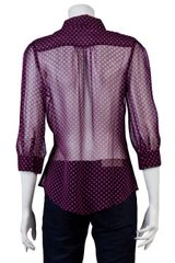 Halston Heritage Polka Dot Blouse in Purple (black) - Lyst