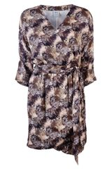 Halston Heritage Beaded Wrap Dress - Lyst