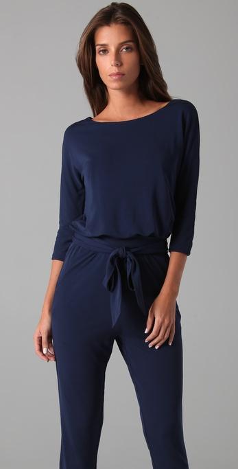 Halston Long Sleeve Jumpsuit In Blue Lyst