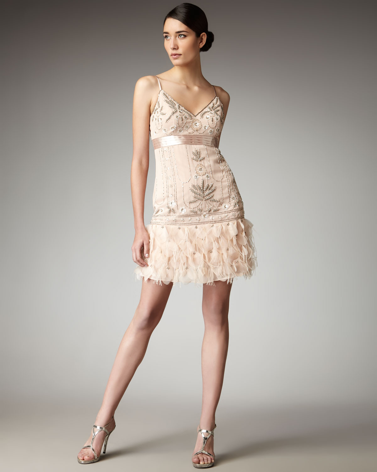 Lyst - Sue Wong Feather-bottom Beaded Dress in Natural
