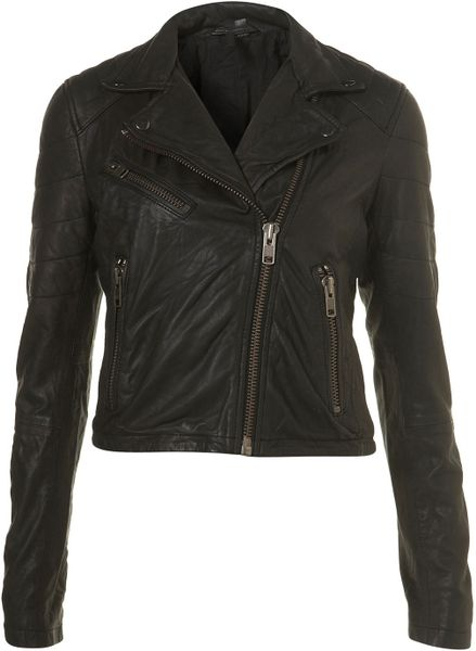 Topshop Quilted Leather Biker Jacket By Boutique in Black | Lyst