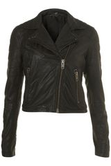 Topshop Quilted Leather Biker Jacket By Boutique