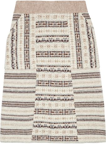 Tory Burch Fair Isle Wool A-line Skirt - Lyst