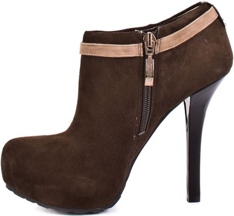 guess gracia suede ankle boots in brown chocolate