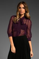 Halston Heritage Removable Tie Blouse in Black W/fuchsia - Lyst