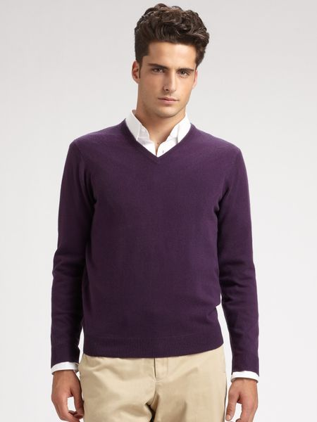Purple Sweater For Men - Cardigan With Buttons