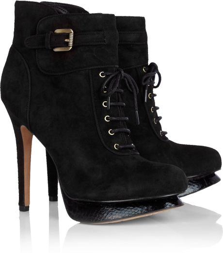 sam edelman black uma lace up high heel ankle boot in