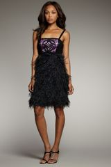 Sue Wong Feather-skirt Dress - Lyst