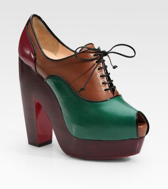Christian Louboutin Leather Lace-up Colorblock Peep Toe Ankle Boots - Lyst