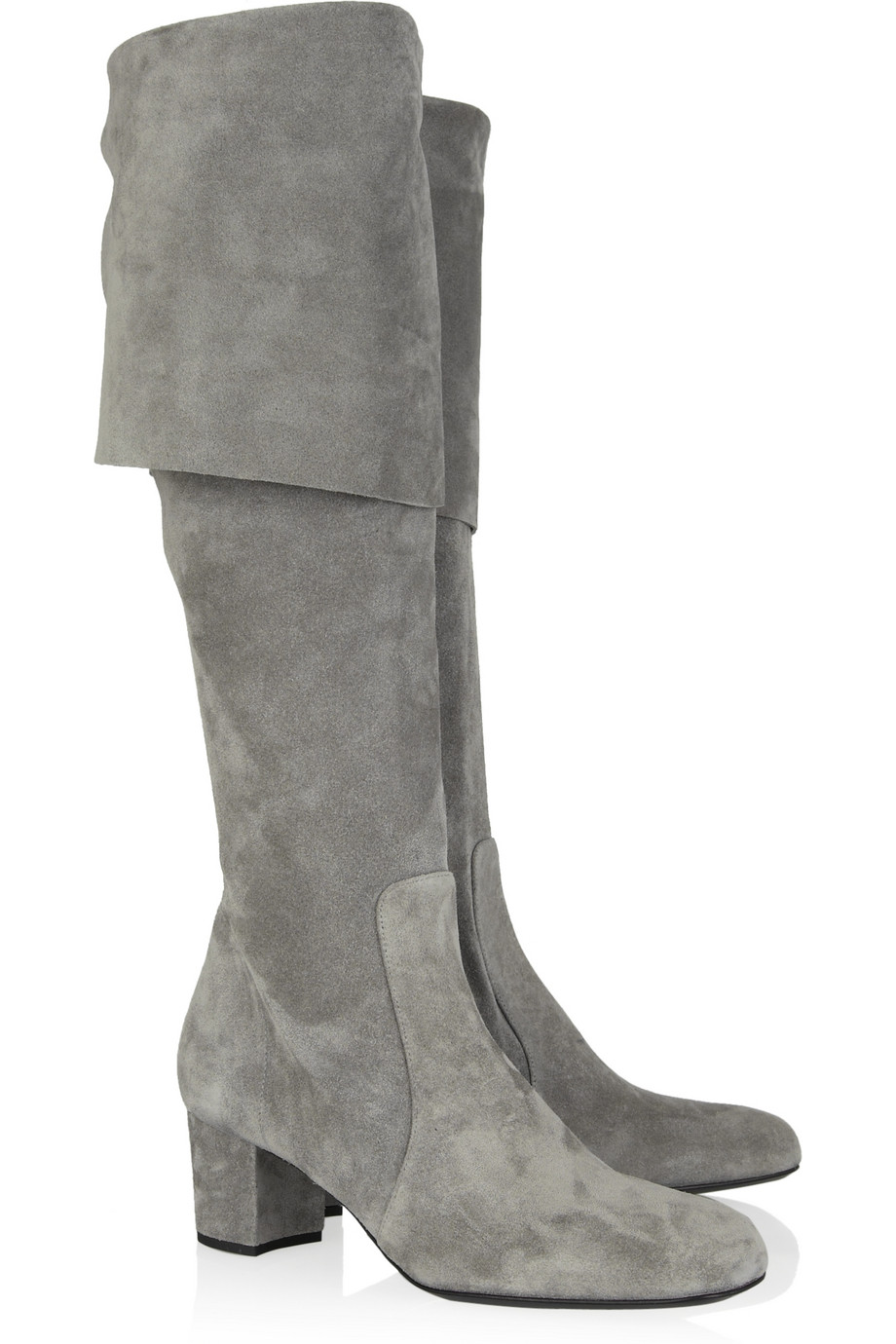 michael kors suede the knee boots in gray lyst