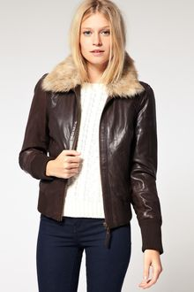 Oasis Fur Collar Bomber Jacket - Lyst