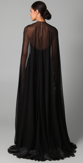 Lyst Reem Acra Halter Gown With Chiffon Cape In Black