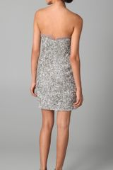 Reem Acra Sweetheart Neckline Dress in Silver - Lyst