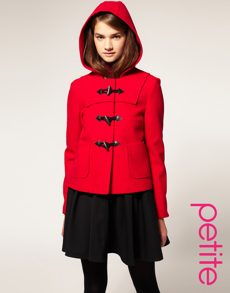 Asos collection Asos Short Wool Duffle Coat in Red | Lyst