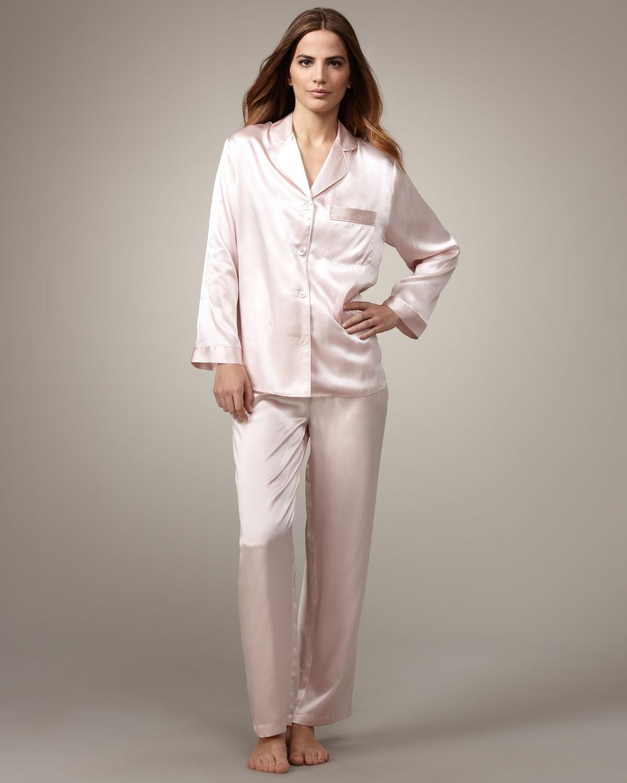 Neiman Marcus Classic Silk Pajamas Light Pink Lyst