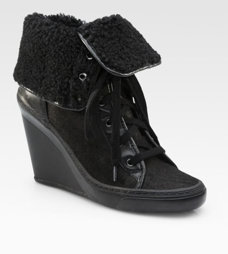 ash minsk suede lace up wedge ankle boots in black lyst