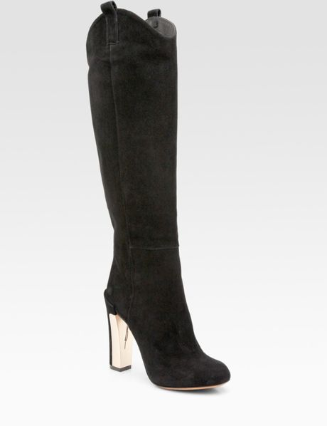 b brian atwood paradis suede knee high boots in black lyst