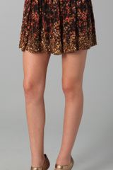 Haute Hippie Floral Embroidered Skirt - Lyst