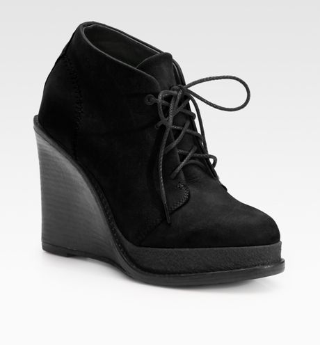 Rag & Bone Odval Desert Suede Wedge Ankle Boots in Black