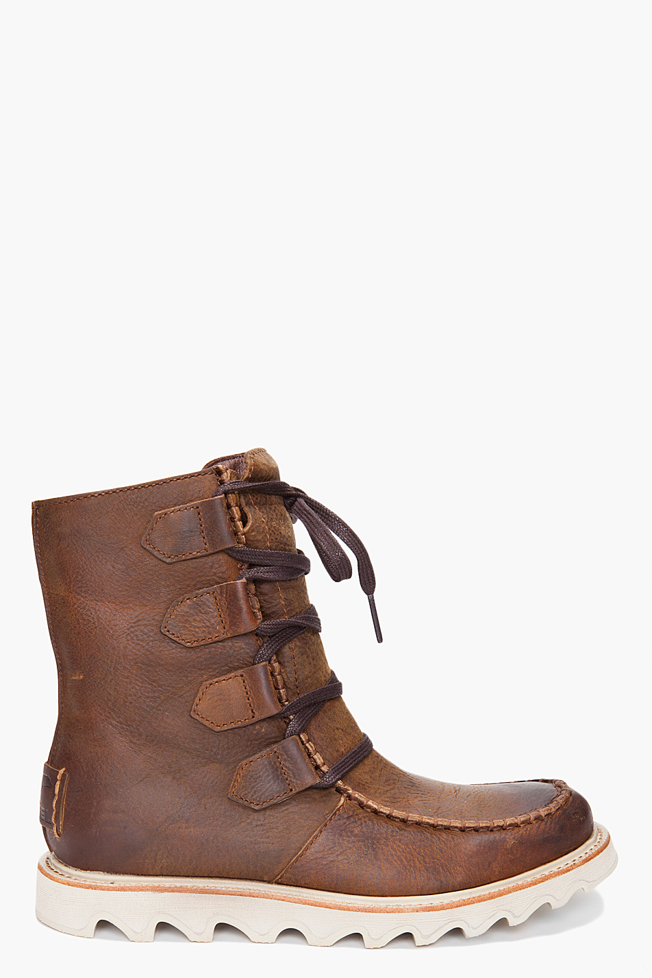 sorel mad lace boots in brown for lyst