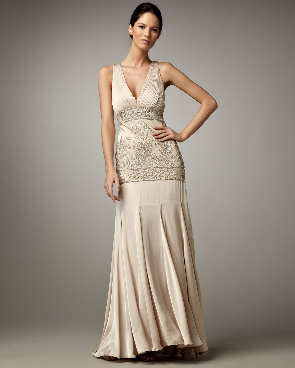 Lyst - Sue Wong Beaded-Bodice Gown in Metallic