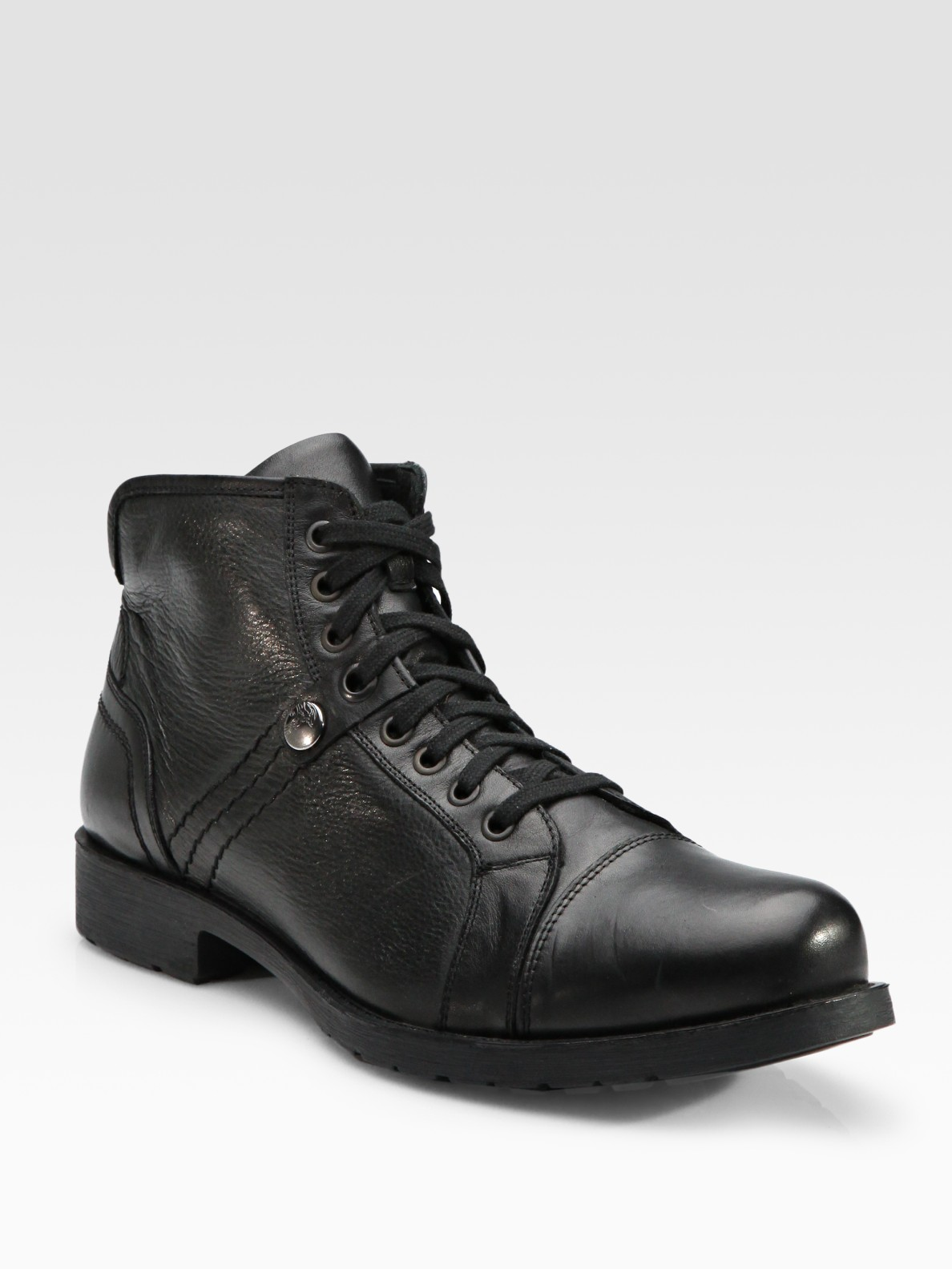 versace lace up leather ankle boots in black for lyst