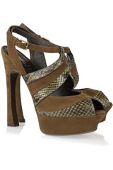 Yves Saint Laurent Palais Suede and Python Sandals - Lyst