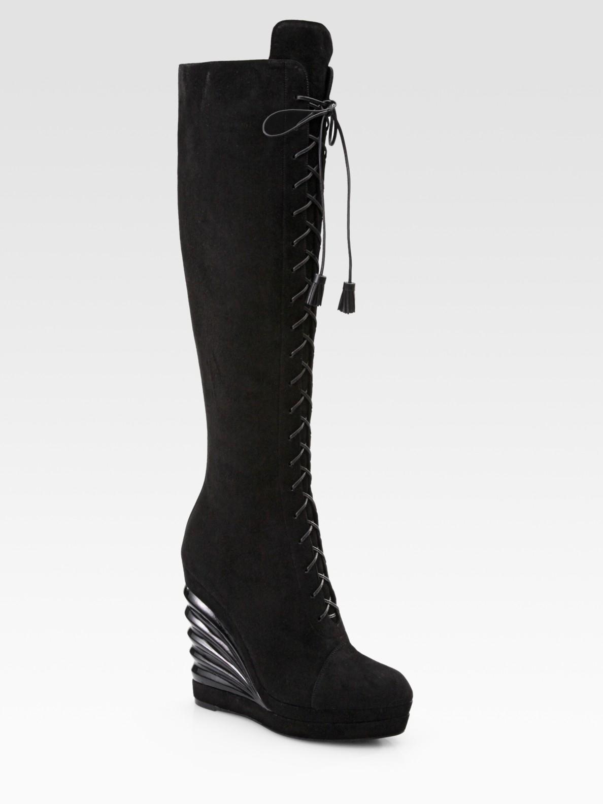 Saint Laurent Suede Lace Up Knee High Wedge Boots In Black