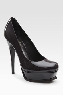 Yves Saint Laurent Ysl Tribute Patent Leather Platform Pumps - Lyst