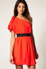 ASOS Collection Asos One Shoulder Drape Dress with Pleats To Skirt - Lyst