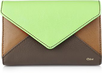 Chloé Color-block Leather Envelope Clutch - Lyst