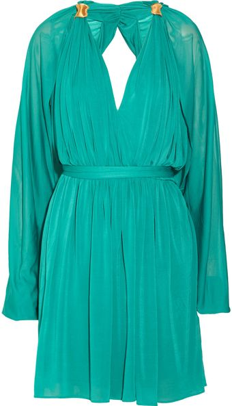 Halston Draped Crepe Dress - Lyst