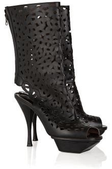 Marni Laser-cut Leather Calf Boots - Lyst