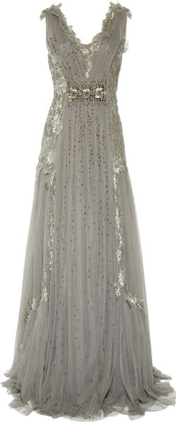 Alberta Ferretti Embroidered Tulle Gown in Gray (anthracite) - Lyst