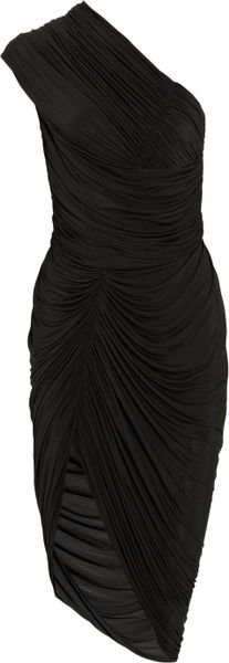 Alexander Wang Asymmetric Ruched Jersey Dress in Black - Lyst