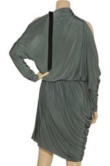 Alexander Wang Cutout Asymmetric Draped Dress in Green - Lyst