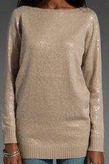 Alice + Olivia Allover Sequin Sweater in Beige (tan) - Lyst