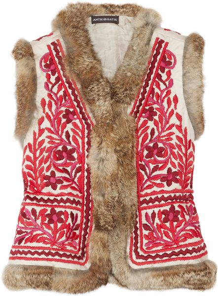 Antik Batik Totem Rabbittrimmed Embroidered Cotton Gilet in Red (taupe) - Lyst