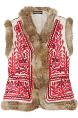 Antik Batik Totem Rabbit-trimmed Embroidered Cotton Gilet