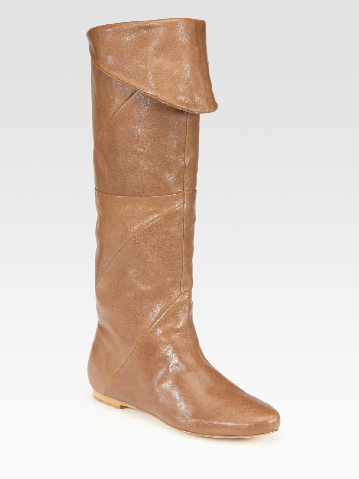 by sigerson morrison leather knee high flat boots in