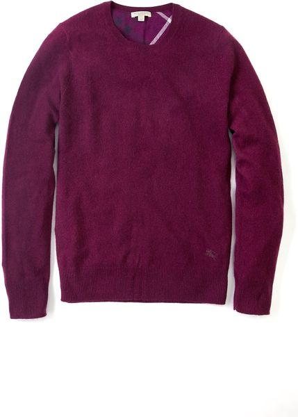 Burberry Deep Purple Cashmere Crew Knit in Purple for Men